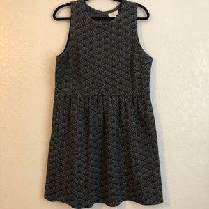 Grey & Black LOFT patterned dress SZ 14
